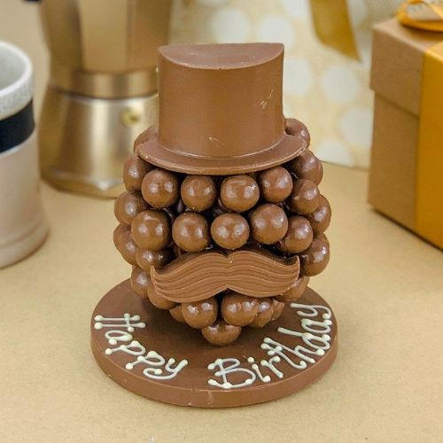 Personalised Malteaser Chocolate Head with Hat & Moustache